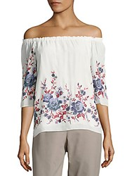 Saks Fifth Avenue Red Floral Print Off The Shoulder Top White