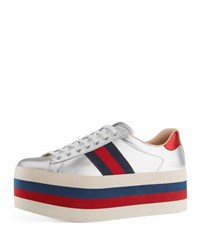 Gucci New Ace Leather Low Top Platform Sneaker Silver