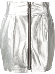 Alexandre Vauthier Metallic Zipped Skirt Grey