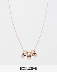 Reclaimed Vintage Rose Gold Plated Skull Necklace