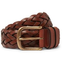 Anderson And Sheppard 35Mm Woven Leather Belt Brown