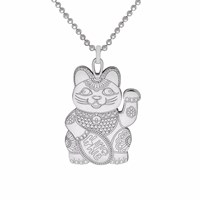 Cartergore Silver Lucky Cat Pendant Necklace