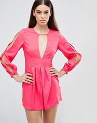 Ax Paris V Neck Split Sleeve Playsuit With T Bar Coral Pink
