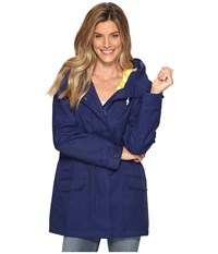 Hatley Field Jacket Navy Yellow White Stripe Women's Coat