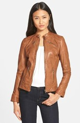 Lamarque Women's 'Leighton' Stitch Detail Lambskin Leather Jacket Brown Sugar