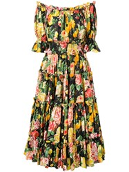 Dolce And Gabbana Floral Print Flared Dress Yellow