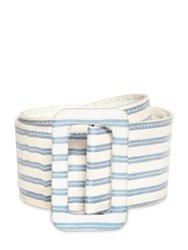 Luisa Beccaria Striped Linen Blend Belt Blue White