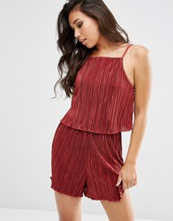 Asos Double Layered Pleated Playsuit Maroon Multi
