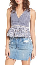 J.O.A. Embroidered Gingham Crop Top Navy Gingham
