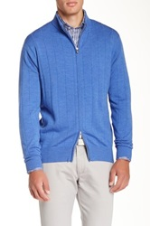 Peter Millar Drop Needle Full Zip Merino Wool Cardigan Blue