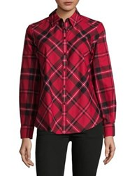Lord And Taylor Plaid Button Down Shirt Scarlet