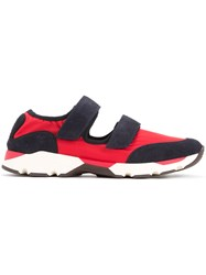 Marni Velcro Cut Out Technical Sneakers Men Leather Nylon Polyester 41 Red