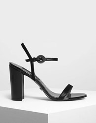 Charles And Keith Block Heel Leather Sandals Black