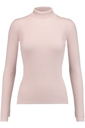 Giambattista Valli Ribbed Cashmere And Silk Blend Turtleneck Sweater Pink