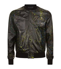 Philipp Plein My Last Leather Bomber Jacket Male Black