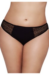 Ashley Graham Plus Size Women's Lace Sides Thong Black