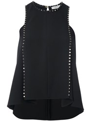 Versace Collection Ruffled Sleeveless Blouse Black