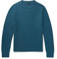 J.Crew Honeycomb Knit Cotton Sweater Petrol