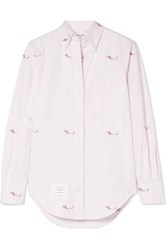 Thom Browne Embroidered Cotton Poplin Shirt Pastel Pink
