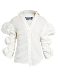 Jacquemus Puff Sleeved Cotton Jacquard Shirt Ivory