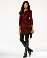 Cable And Gauge Cowl Neck Printed Handkerchief Hem Tunic Top Black Red Fan Print