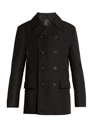 Dolce And Gabbana Double Breasted Cotton Gabardine Pea Coat Black