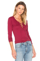 Velvet By Graham And Spencer Mandee Lace Up Top Red