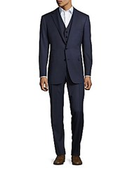 Polo Ralph Lauren Notch Lapel Wool 3 Piece Suit Navy Grey
