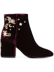 Ash Embroidered Ankle Boots Pink
