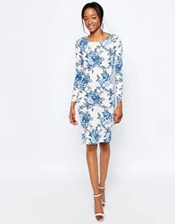 Glamorous Midi Dresss In Tropical Floral Print Light Blue Floral