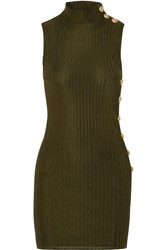 Balmain Ribbed Stretch Knit Mini Dress Army Green