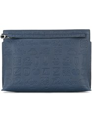 Loewe Logo Embossed Clutch Bag Blue