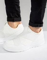 Armani Jeans Elastic Runner Trainers In White White