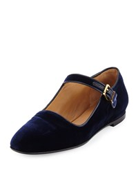 The Row Ava Velvet Mary Jane Flat Navy Stone Navy Grey Women's