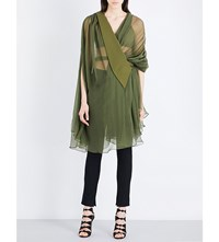 Balmain Draped Pleated Silk Chiffon Mini Dress Kaki