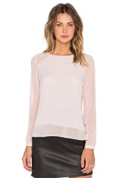 1. State Long Sleeve Sheer Shoulder And Hem Blouse Blush