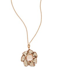 Bh Multi Color Corp. Pink Quartz Smoky Quartz And 14K Rose Gold Flower Pendant Necklace