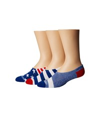 Converse Chucks Bars And Stars 3 Pair Pack Red White Blue Men's No Show Socks Shoes Multi