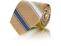 Fairfax Striped Textured Silk Necktie Yellow