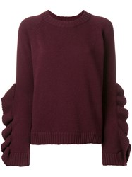 Red Valentino Ruffle Sleeve Jumper Red