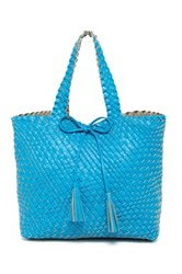 Urban Expressions Woven Reversible Weekend Tote Bag Blue