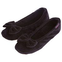 Totes Velour Big Bow Slippers Black