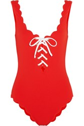 Marysia Palm Springs Lace Up Scalloped Swimsuit Red