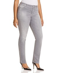 Marina Rinaldi Idrofono Distressed Slim Jeans In Light Grey Light Gray