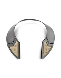 Avril Inverted Ruthenium Plated Brass And Golden Viscose Collar Necklace W Studs Black