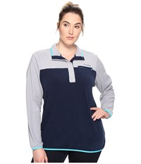 Columbia Plus Size Mountain Side Pullover Grey Collegiate Navy Women's Long Sleeve Pullover Gray