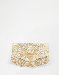 Glamorous Embroidered Clutch Bag In Ivory With Beading Ivory White