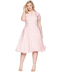 Unique Vintage Plus Size Alexis Short Sleeve Swing Dress Pink Gingham
