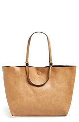 Street Level Reversible Vegan Leather Tote Tan Black