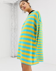The Ragged Priest Knitted Striped Jumper Dress Green